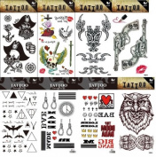 Grashine 8pcs different long last and realistic temporary tattoos in 1package, it includinggun and owl, totem,skulls, tattoo stickers