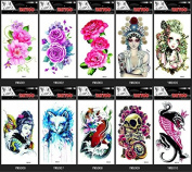 Grashine 10pcs temporary tattoos in one package,it including lovely baby,women,cat,fish,skull,various colourful roses,peony,animal,etc.