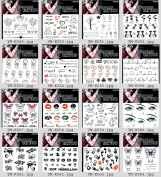 Grashine 16pcs long last and realistic temp tattoo stickers in one package,it including hearts,bears,trees,butterflies,lips,eyes,footprints,leaves,cats,electrocardiogram,Halloween boo,etc.