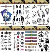 Grashine 8pcs different long last and realistic temporary tattoos in 1package, it including angels,birds,dolphins,feathers,totem,watch,stars and cut cat tattoo stickers