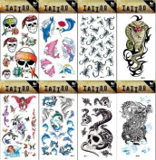 Grashine 8pcs different long last and realistic temporary tattoos in 1package, it including cobra,skulls,angels,dolphins,spiders,dragon tattoo stickers