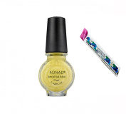 Konad Stamping Nail Art DIY 11ml Special Nail Polish Pastel Yellow with One Ganda Nail Buffer