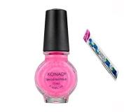 Konad Stamping Nail Art DIY 11ml Special Nail Polish Psyche Pink with One Ganda Nail Buffer
