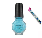 Konad Stamping Nail Art DIY 11ml Special Nail Polish Pastel Blue with One Ganda Nail Buffer