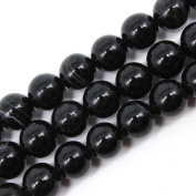 JarTc Natural Round Banded Black Stripe Onyx Agate Beads For Jewellery Making 15""