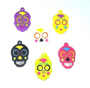 Day of the Dead Rubber Skull Charms - Set of 6