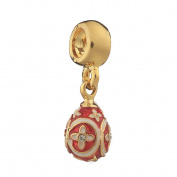 Russian Faberge Style Egg Pendant / Charm with crystals 2.2cm red #1554-05