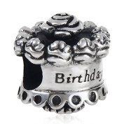 Rose Birthday Cake Charm Original 100% Authentic 925 Sterling Silver Flower Cake Charm fit for Pandora Charms Bracelets