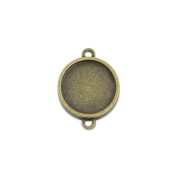 14mm Double Sided Round Cabochon Connector Tray Setting Bezel Connector Pack of 50