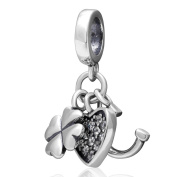 Clover Heart Horseshoe Dangle Charm Original 100% Authentic 925 Sterling Silver Beads Charm fit for Pandora Charms Bracelets