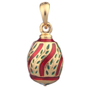 Russian Faberge Style Egg Pendant / Charm 2.5cm red #0701-02