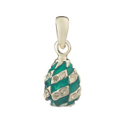 Russian Faberge Style Egg Pendant / Charm with crystals 1.6cm light blue #1551-18-09