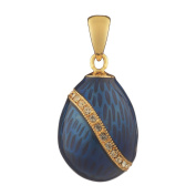 Russian Faberge Style Egg Pendant / Charm with crystals 1.9cm blue #1503-11
