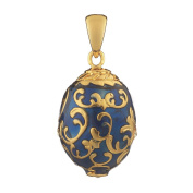 Russian Faberge Style Egg Pendant / Charm with crystals 1.9cm blue #1502-11
