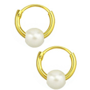 TINY Hoop Earrings, GOLD over silver, pearl charm, 8mm, endless hoops,nose,cartilage,ears,lips. with keeper bag & cloth