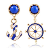 Leiothrix Special Alloy Golden Navy Style Anchor Earrings in Blue & White for Women and Girls Apply to Wedding Party Casual