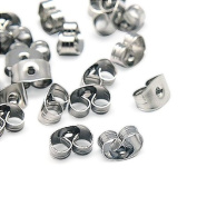 Pandahall 100 Pcs 5x3.5x2mm Earrings Findings Original Colour Stainless Steel Earnuts, Hole