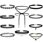 Caydo 10 Pieces Choker Necklace Set Velvet Lace Choker Tattoo Necklace for Women and Girls