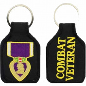 PURPLE HEART MEDAL COMBAT VETERAN KEY CHAIN - Multi-Coloured - Veteran Owned Business