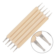 COMI 5Pcs Wooden Ball Styluses Tool Set for Embossing Pattern Clay Sculpting , Nail Art