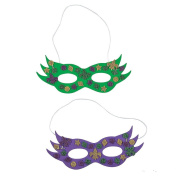 12 ~ Glitter Mardi Gras Mask Craft Kits ~ New