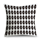 FabricMCC Geometric Pattern Black and White Square Decorative Throw Pillow Case Cushion Cover 18x18