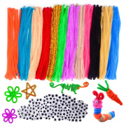 WXJ13 240 Pieces 12 Colours Pipe Cleaners Chenille Stem and 4 Size 200 Pieces Non self-adhesive Googly Wiggle Eyes