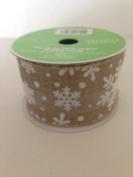 White Gold Glitter Stars 6.4cm . X 2.7m 100% Sheer Polyester Ribbon - Great for Christmas!!!