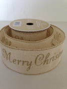 Gold Glitter Merry Christmas Edge Stitching Canvas Design 6.4cm . x 7.6m Wired Ribbon - Great for the Christmas Season!