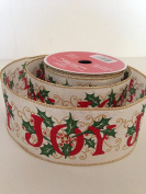 Gold Glitter Red Joy Green Holly Design 6.4cm . x 7.6m Wired Ribbon - Great for the Christmas Season!
