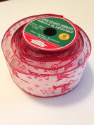 White Red Glitter Reindeer 6.4cm . X 2.7m 100% Polyester Ribbon - Great for Christmas!!!
