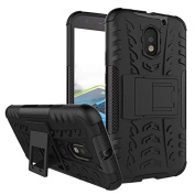 Moto E3 Case, ARSUE [Premium Rugged] Heavy Duty Armour [Shock Resistant] Dual Layer with Kickstand Case for Motorola Moto E 3rd Generation (2016)-Black