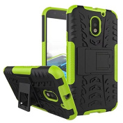 Moto E3 Case, ARSUE [Premium Rugged] Heavy Duty Armour [Shock Resistant] Dual Layer with Kickstand Case for Motorola Moto E 3rd Generation (2016)-Green