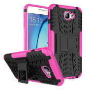 Galaxy On5 2016 Case, ARSUE [Premium Rugged] Heavy Duty Armour [Shock Resistant] Dual Layer with Kickstand Case for Galaxy On5 2016-Hot pink [NOT fit for Galaxy On5 2015 Released]