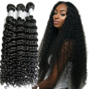 Lemoda Hair Peruvian Virgin Hair Curly Hair Bundles 7A Grade Virgin Black Colour Hair Extension Weave 3 Bundles (100+/-5g)/bundle