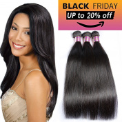 Xblhair Brazilian Virgin Remy Human Hair Extension Weave 3 Bundles 300g – Silky Straight,15cm - 70cm , Natural Colour