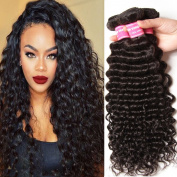 ALI JULIA Brazilian Virgin Hair Deep Wave 3 Bundles 100% Unprocessed Human Hair Weave Extensions Natural Colour Mixed Length 95-100g/pc