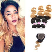 Shengmeiyuan Beauty Show 8-80cm Grade 9A Unprocessed Brazilian T1B/27 Ombre body wave Virgin Hair 3 Bundles With Closure Rosa Hair Products Silver Human Hair Extensions