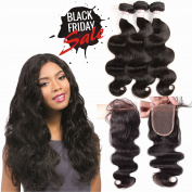 "Grace Plus Human Hair Bundles 100% Unprocessed Brazilian Virgin Remy Hair Body Wave 3 Bundles With Closure Free Part 14""16""18"" 300g Plus 14"" Lace Lace"