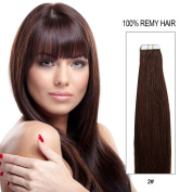 Beauty On Line Tape In Human Hair Extensions 41cm 20pcs 40g/pack Slilky Straight Seamless Skin Weft Remy Hair 2# Dark Brown Colour
