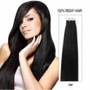 Beauty On Line Tape In Human Hair Extensions 41cm 20pcs 40g/pack Slilky Straight Seamless Skin Weft Remy Hair 1b# Off Black Colour