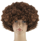 Topro Curly Clown Funky Disco Wig Fancy Dress Costume Accessory Colro Coffee