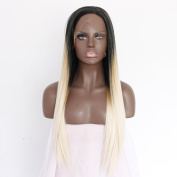 Ebingoo Handmade Women Straight 2 Tones Front Lace Wigs Synthetic Black Roots Ombre Blonde Fibre Hair Heat Resistant JLS086
