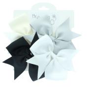My Lello Medium 10cm Girls Split Tails Boutique Grosgrain Hair-Bow Mixed Variety 4 Pack Black/Grey/White/Ivory