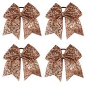 CN 4pcs Leopard Glitter Cheer Bows Sparkly Hair Bows With Ponytail Holder For Dance Cheerleading