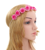 Merroyal Flower Hippy Women Girls Headband Crown Festival Birthday Party boho Hairband Floral Bridesmaid Wedding