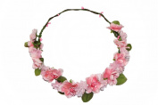 HH Building Boho Cherry Blossom Flower Halo Crown Wedding Headpiece Hair Wreath