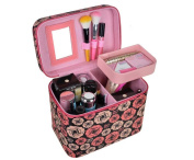 HOYOFO PU Large Makeup Organiser Travel Cosmetic Bags Make Up Case with Small Mirror,Flower