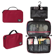 BAGSMART Travel Hanging Toiletry Cosmetic Bag Carry-on Makeup Organiser Portable Wash Totes, Red