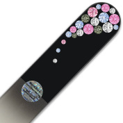Large Size Glass Nail File Hand Decorated with Elements, in Black Velvet Sleeve, Genuine Czech Tempered Glass,, Hand-Made Crystal Nail File